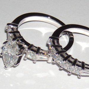 2.75 ct. MARQUISE diamond engagement ring and band